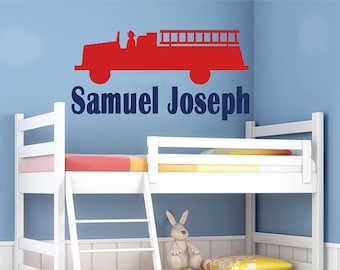 FIRETRUCK Monogram Wall Decal EXTRA LARGE 4 feet wide