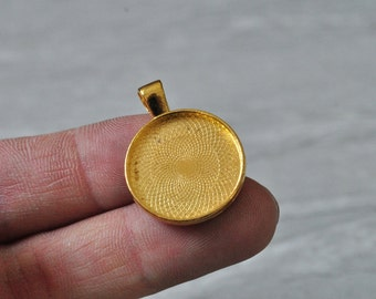 15pcs 20mm Pad Gold Plated Round Cameo Cabochon Base Setting PP805