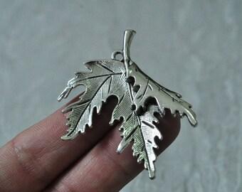 5pcs Antique Silver Maple Leaf Charm Pendant 54x48mm PP930