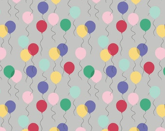 Lewis & Irene April Showers Patchwork Quilting Fabric - A74.3 Balloons on Grey