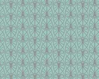 Lewis & Irene April Showers Patchwork Quilting Fabric - A71.3 Parisian Fretwork on Aqua