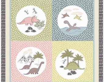 "1 Yard Panel Lewis & Irene Patchwork Quilting Fabric - Jurassic Coast Dinosaur A003-3 36""x 44"" Crib Panel"