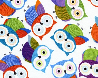 Patchwork Quilting Fabric Timeless Treasures Foxy Owl Fun-C1478-White
