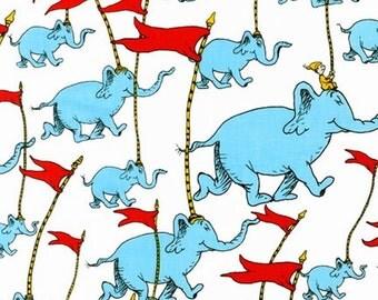 Half Metre Patchwork Quilting Fabric Robert Kaufman - Dr Seuss - Cat in the Hat - Elephants Flags