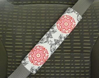 Seat Belt Cover Pink Gray White Flower Medallion Mandala Pattern, Shoulder Pad, Refrigerator Handle, Tote Bag Handle, reverse is Pink