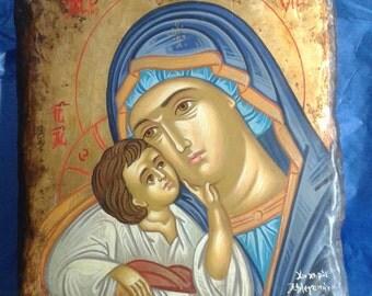 ICON.byzantine icon. religious icon.VIRGIN MARY Byzantine icon greek icon.handpainted icon.OldWood or new.Luxury gift wedding-Baptism