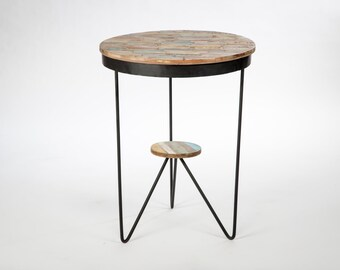 Table round bistro metal wood