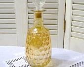 Vintage Decanter Carnival Glass with Matching Stopper Mid Century Bar Decor PanchosPorch