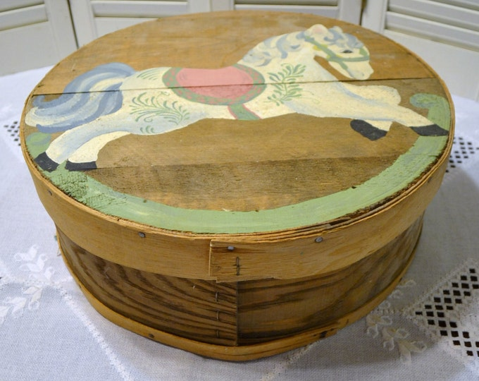 Vintage Cheesebox Hand Painted Rocking Horse Rustic Wood Box Storage PanchosPorch