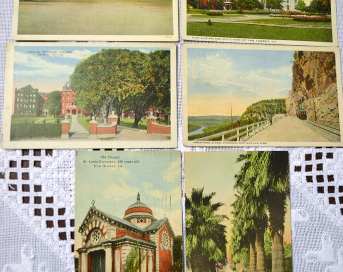 Vintage Postcard Set of 6 Tennessee Florida Louisiana Virginia Alabama Various Travel Souvenirs PanchosPorch