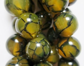 "Natural Dragon Veins Agate Beads - 10 mm Beads - Strand 7 1/2"", 19 beads, A-Quality"