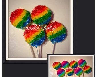 Rainbow Chocolate Covered Oreo pops, Rainbow Party