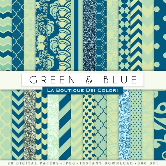 Green And Blue Digital Paper. Digital Blue And Green Paper
