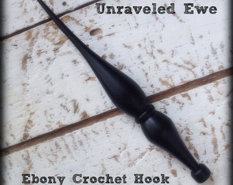 Hand-turned Ebony Crochet Hook