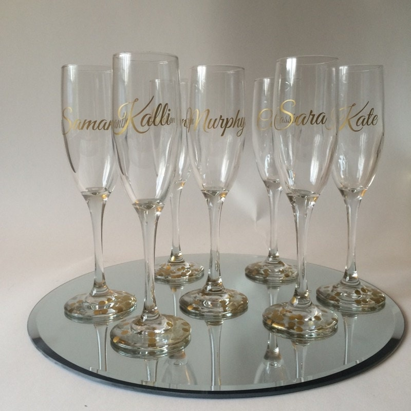 custom champagne flutes custom made bridal party wedding