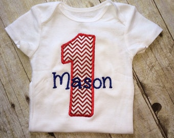 Personalized Baby boy first birthday outfit - red chevron and navy blue , first birthday outfit -  1st Birthday  Boy