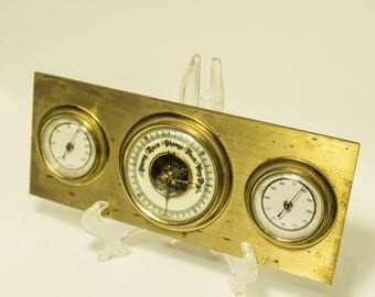 Desk Accessory for Men, Vintage Brass Desk Temperature Gauge, Barometer Hygrometer Temperature, Rain Change Fair Very Dry, Gifts for Him