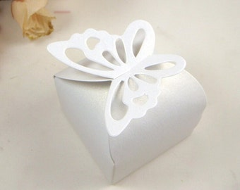 50pc white Butterfly Candy Box Gift Boxes Wedding favor box Baby box paper box