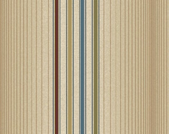 Half Yard Olivia - Pinstripe in Tan and Blue - Cotton Quilt Fabric - by Michele D' Amore for Benartex Fabrics - 4634-70 (W2565)