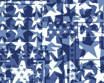 One Yard U.S.A. - Star Collage in Navy Blue - Cotton Quilt Fabric - Whistler Studios and Windham Fabrics - 40331-4 (W2617)