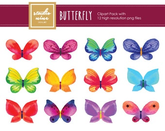 Watercolor Butterfly Clipart Set
