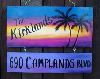 Personalized Camp Camping Yard Name Sign Double Sided   with Sunset Palm Tree Lake Cabin Beach  Your Color Theme