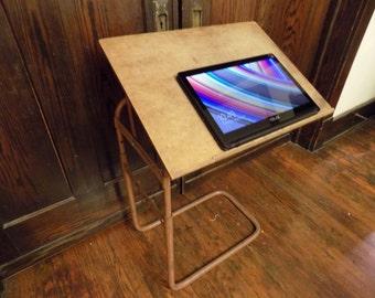 Antique Drafting Desk Machine Age Industrial Table Stand Adjustable Wood & Metal Computer Desk