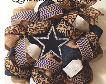 Dallas Cowboys, cowboys wreath, football wreath, burlap wreath, cowboys, leopard wreath