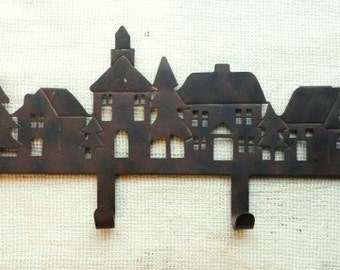 Rustic Wall Hooks- Metal Coat & Hat Rack- Wall Mount Figural Rusty Metal Rack- Dog Leashes- Towels- Lodge- Mud Room- Entry Coat Catcher