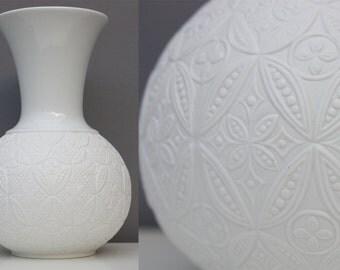 Edelstein bisque vase white porcelain, Germany Bavaria, vintage 60s 70s, womens gift, wedding gift