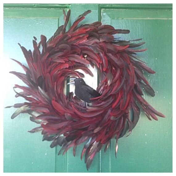Black Flower And Crow Halloween Wreath: Halloween Wreath Feather Wreath Halloween Decor Crow