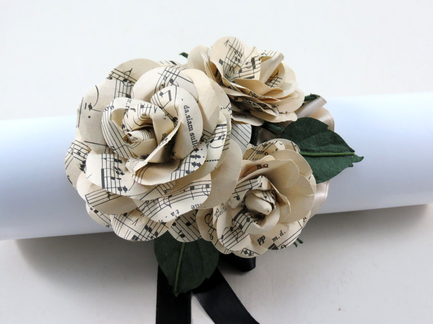 paper wrist corsage sheet music wedding corsage paper, Beautiful flower