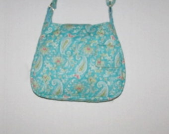 Handmade Quilted Purse,  Teal Paisley 254A