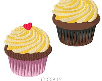 Embroidery Cupcake Design. INSTANT DOWNLOAD