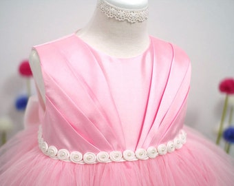Pink Pleats Baby Dress - Tulle Dress - 1st Birthday party - Flower girl