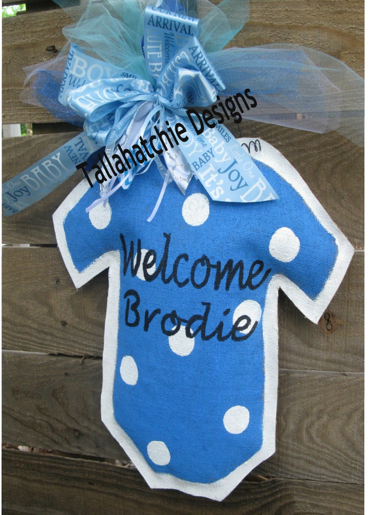 Baby boy burlap door hanger hospital door hanger new arrival for Baby boy hospital door decoration