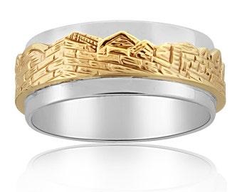 Sterling Silver & Gold Old City Jerusalem Ring