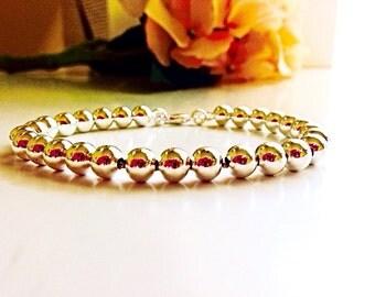 Tiffany Style Silver Bracelet | Sterling Silver Beaded Bracelet | 925 Silver Bracelet | Silver Ball Bracelet | Silver Layering Bracelet
