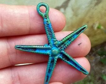 Patina Starfish Necklace, Patina Charm,  Sea Star, Ocean, Beach Jewelry, Sea Life