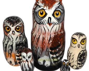 Owls on Five Russian Nesting Dolls. Wild Life. #201