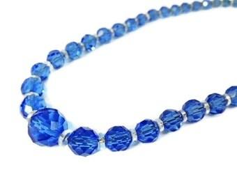 Deco Czech Crystal Bead Necklace Cornflower Blue