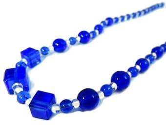 Art Deco Royal Blue Czech Glass Beads Necklace Great Shapes