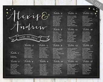 Large Personalized Wedding Seating Chart - Big Chalkboard Table Seating plan any color - DIGITAL file!