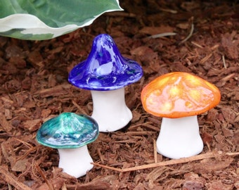Three hand crafted ceramic toadstools - T79