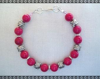 pink beaded bracelet, rose bracelet, rose pink bracelet, pink, pink bracelet