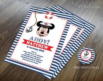 Nautical Mickey Mouse Printable Invitation Printable - in Digital file, YOU PRINT