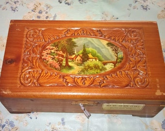 Closing Shop ! EVERYTHING ON SALE 1950's Vintage carved cedar box / jewelry box w/ mirror