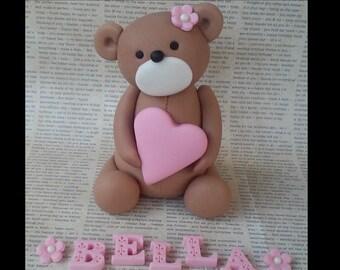 Teddy bear with heart Fondant cake topper