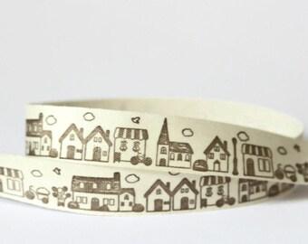 Zakka Ribbon Little Houses - 10 Yards Spool - 15mm Width - Grosgrain - Cotton Tape - Black Cream - Natural Ribbon - Japanese Zakka - R22