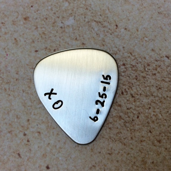 stamped stainless steel guitar pick with personized message. Black Bedroom Furniture Sets. Home Design Ideas